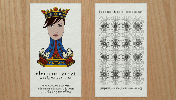 Screenshot of front Eleonora Zorzi business cards