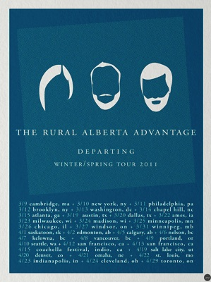 The rural alberta advantage spring/winter 2011 tour poster