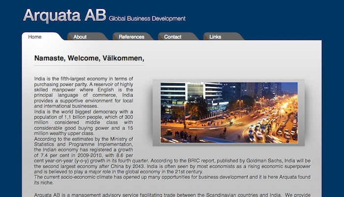 Screenshot of Arquata AB website