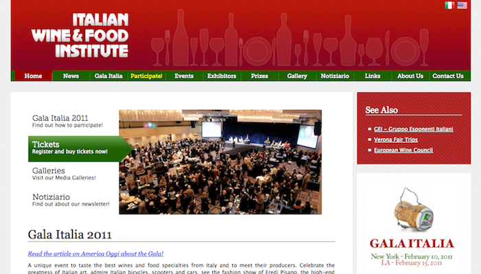 Screeenshot of Italian Wine & Food Institute website