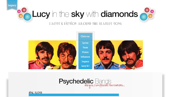 Screenshot of Lucy in the Sky with Diamonds website