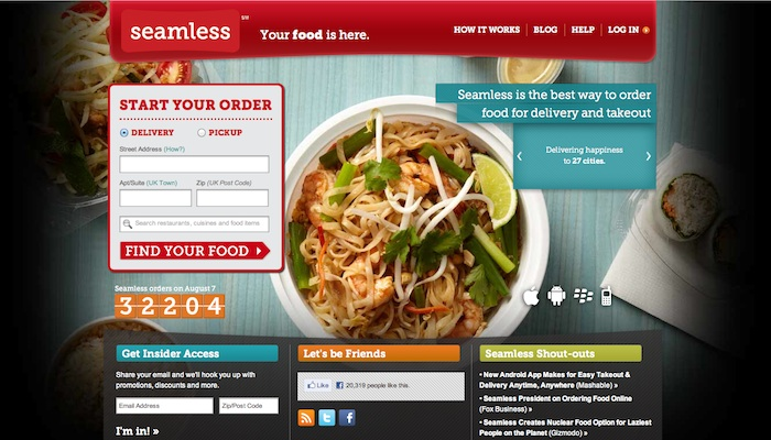 Screeshot of Seamless - Your food is here website